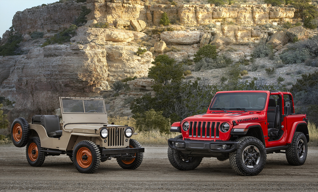 1945 Jeep® CJ-2A and all-new 2018 Jeep Wrangler Rubicon