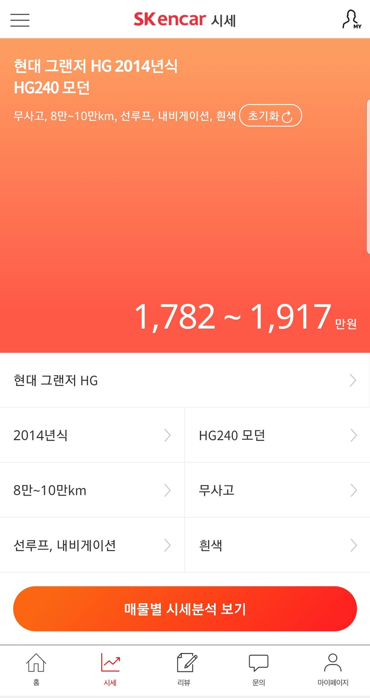 [참고 이미지1] SK엔카닷컴 모바일 시세
