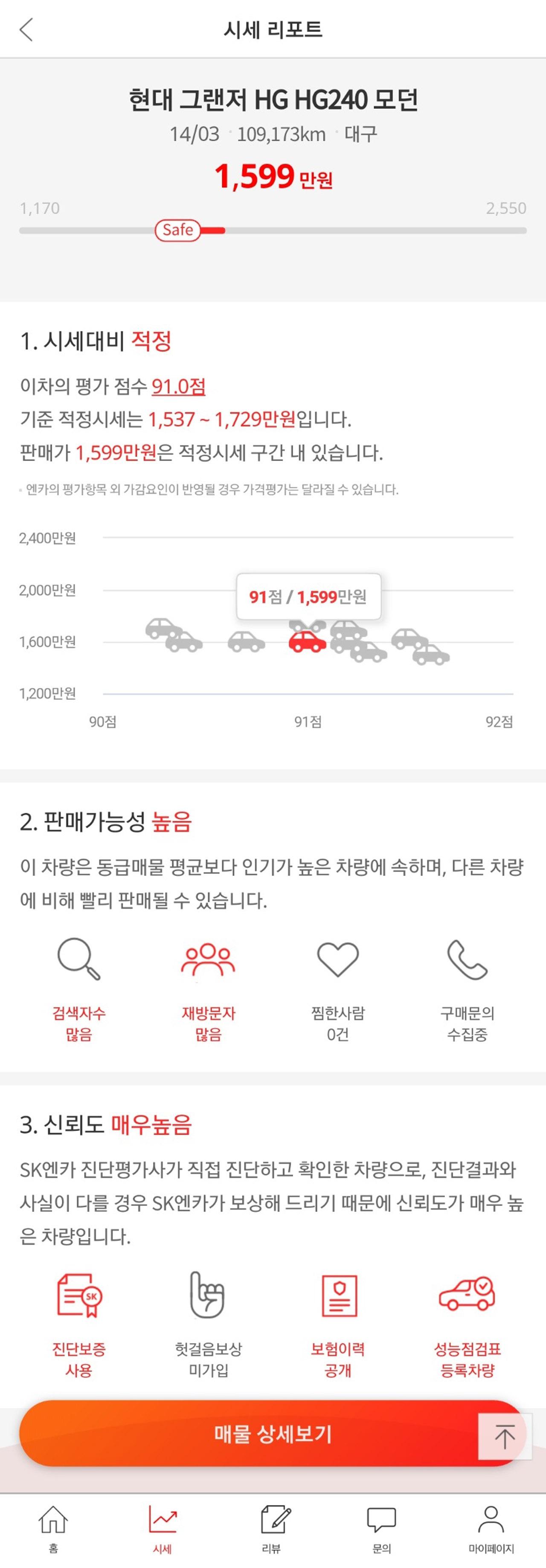 [참고 이미지2] SK엔카닷컴 모바일 시세